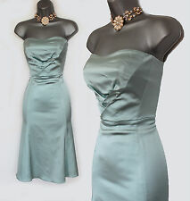 Karen Millen Light Blue Satin Vintage Style Corset Cocktail Dress UK10/38