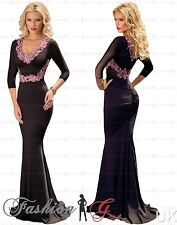Womens Evening Dress Maxi Ball Gown Prom Party Formal Long Black Pink Size 12 14