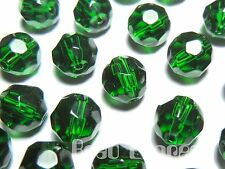 40pc 8mm Crystal Glass Round Faceted Beads - Emerald Dark Green Bulk Lot