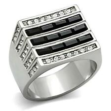 GIFTS FOR MEN Size 11 Stainless Steel Silver Tone Black & Top Grade Crystal Ring