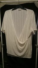 Integra TS Ladies Top in a Cream Semi Sheer Stripe with Sparkles Size XL
