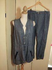 hammock & vine  blue  linen pant suit  long  top and pants