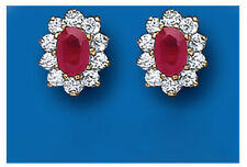9K Gold Real Ruby Oval Cluster Stud Earrings - British Made - Hallmarked