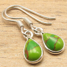 Natural GREEN COPPER TURQUOISE Drop Gems Little Earrings ! 925 Silver Plated