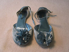 Girls Shiny Blue Satin Feel Monsoon Special Occasion Shoes in Size 12