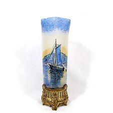 französische Historismus Vase Emaille- Malerei, Metallfuß, vergoldet, Depose 431