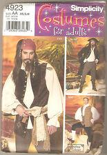 Simplicity Sewing Pattern 4923 Men's Pirate Coat Shirt Vest Pants Costume L,XL