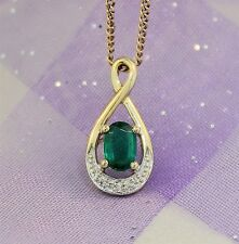 "Pretty ""EMERALD & DIAMOND PENDANT"" Guaranteed Genuine 9ct Gold"