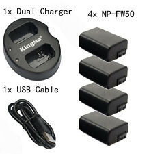 4 NP-FW50 1080mAh Battery for Sony NEX-3C NEX-5 A7S  A7 II A7RII Dual charger