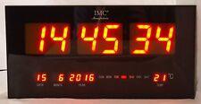 LED - Wanduhr orange groß mit Datum & Temperaturanzeige günstig modern Led-Uhr