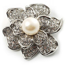 Vintage Silver & White Pearl Flower Diamante Corsage Wedding Brooch Pin BR179
