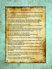 Metal sign wall door plaque vintage retro style Desiderata poem inspiring poster