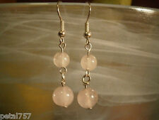 Fashion Earrings Frosted Quartz Semi-prec Gemstone Beads with SP Hook Ear Wires