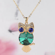 Women 14k Gold Filled Austrian Crystal Peridot Owl Pendant Chain Necklace CB0929