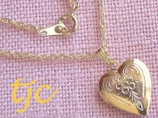 "18ct 18kt 18k GP GOLD SWEET HEART LOCKET w CHAIN 45CM NECKLACE 18"" not 9k 18645Y"