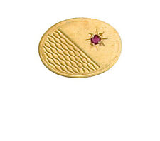 9ct Yellow Gold Oval Ruby Set Tie Pin Made To Order in Jewellery Quarter B'ham