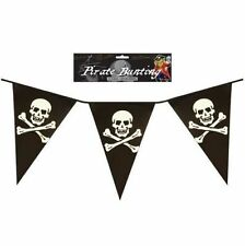 4 x 12FT PIRATE BUNTING FLAGS SKULL CROSS BONES KIDS BOYS THEMED PARTY