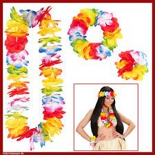 HAWAII LEIS-SET Blütenkette Armband Hula Kette Südsee Karibik Kostüm Party 9132