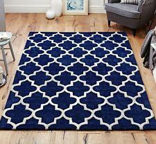Moroccan Tile Rugs In Blue & Cream Modern Handmade Wool Rugs 80X150CM