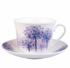 Roy Kirkham Alliums Large Cup &Saucer Purple Flower Bone China Made in England