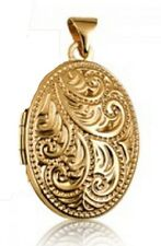 NEW Genuine 9ct Solid Yellow Gold Four Photo Engraved Scroll Oval Shape Locket