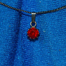 New Mood Red Glass Solitaire Diamonds Pendant On Blackened Necklace