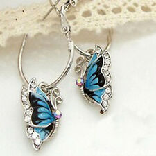 Butterfly Earrings Silver Hoop Crystal Dangle Blue Wings AB Ear Vintage Wedding