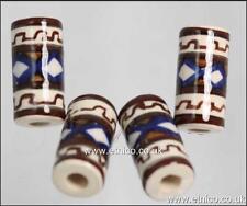 Peruvian ceramic TUBE Beads  Hand Painted  V01019  X 10   Hair and Craft Use