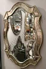 venetian shaped wall mirror oval silver gold accents home decor vanity bathroom