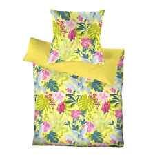 Schlafgut Mako Satin Bettwäsche 2 tlg 135x200 RV select Streifen Blumen bunt