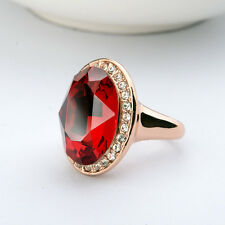 STUNNING LARGE 18K GOLD PLATED RUBY RED GENUINE SWAROVSKI CRYSTAL AND CZ RING