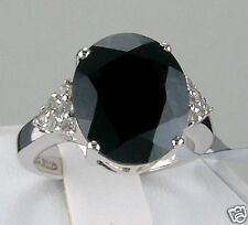 8.51ct Genuine Black Spinel with White Topaz Solid Sterling Silver Ring, Size 7