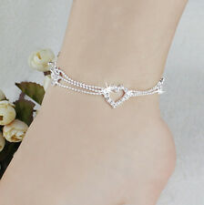 Women Charm Silver Plated Bead Anklet Ankle Bracelet Chain Crystal Foot Jewelry