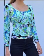 Ladies hand made printed stretch 3/4 sleeve blouse top, size 10