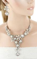 Schmuckset Halskette Kette Collier Ohrringe weiß silberfa Strass Braut Blume SET