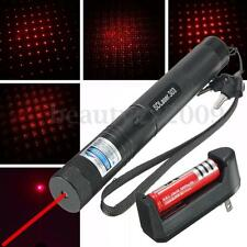 Red Laser Pointer Visible Beam Light Pen +18650 Battery +Charger +Keys