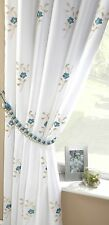 """TEAL BLUE WHITE PEARLS FULLY LINED PENCIL PLEAT THICK VOILE CURTAINS 57"""" X 90"""""""