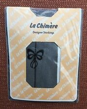 Vintage La Chimere Super Fine Black Seamed Stockings, BNWT, One Size, Bow Motif