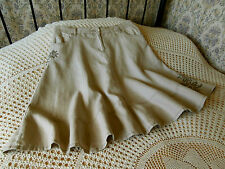 Beige linen skirt by GEORGE Embroidered floral trim. Size16