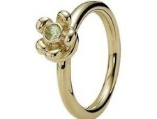 Genuine Pandora Solid 14kt gold & Peridot set ring With Floating Link Size 56