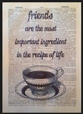 Friend Quote Print Vintage Dictionary Page Wall Art Picture Gift Coffee Tea Cute