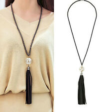 Charm Jewelry Pearl Beads Leather Tassels Pendant Sweater Long Chain Necklace
