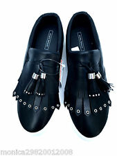 ZARA BLACK FRINGED FLAT SNEAKERS TRAINERS SIZE UK7,EUR40,US9