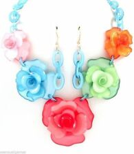 Roses Brilliant Colors Acrylic Collar Choker & Earrings Necklace New