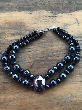 Awesome Hematite And Crystal Choker Necklace  .T39