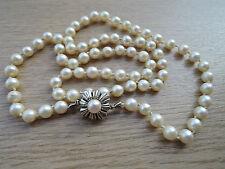 Verschluss Perlencollier Akoyazuchtperlen 585 Weissgold Kette Schmuck Damen
