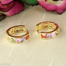 E11 18K Gold Plated Multi-coloured Crystal Huggie Hoop Earrings 14mm - Giftboxed