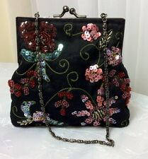 Olga Berg Ladies Small Black Multi Satin Sequin Floral Vintage Evening Bag