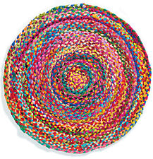Hand Made Round Chindi Braided Rug Colourful Lounge Bedroom Mat Fair Trade 90 cm