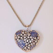 Lange Halskette Damen Kette Herz Anhänger Lagenlook Strass Blau Silber 1